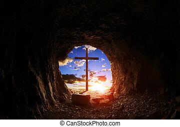 croce, legno, sunset.