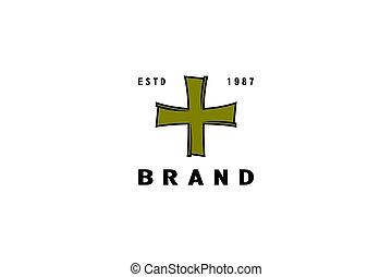 croce, logotipo, vendemmia