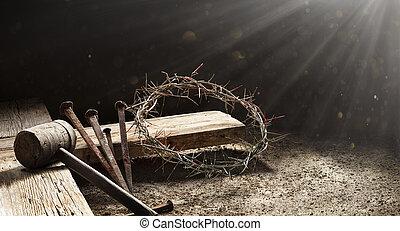 croce, martello, legno, -, corona, passione, sanguinante, gesù, raccoglitori, spine