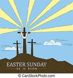 croce, schizzo, easter., pasqua, celebrare, cristiano, testo religioso, resurrection., scarabocchiare, domenica, vacanza