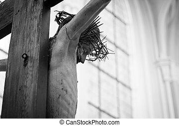 croce, statua, gesù