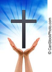 croce, tenendo mano