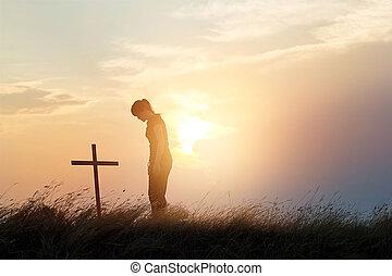 croce, tramonto, fondo, campo, respecting, donna