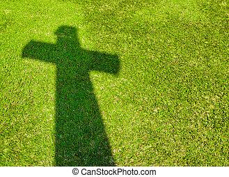 croce, uggia, erba, verde
