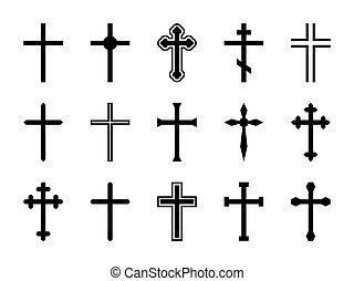 croci, silhouette, gesù, forme, cross., cristiano, ortodosso, differente, vettore, set, crocifisso, religioso, catalytic, segni, cristo