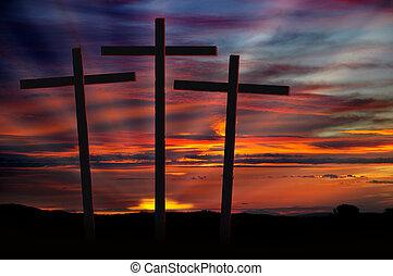 croci, tramonto, tre