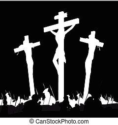 crocifissione, calvary, nero, scena, bianco