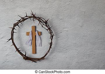 crocifissione, christ., fondo., croce, corona, spine, grigio, gesù