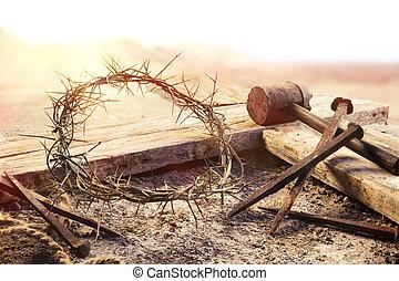 crocifissione, croce, martello, -, unghia, corona, sanguinante, tramonto, spine