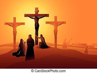crocifissione, discepolo, john, mary, amato, madre, gesù, magdala