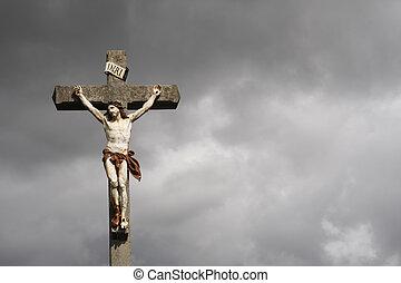 crocifissione, scultura, cristo, gesù