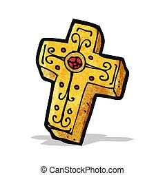 crocifisso, croce, cartone animato
