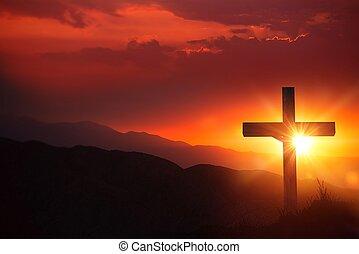 crocifisso, luce, cristo