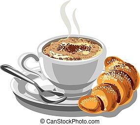 croissant, caffè, cappuccino