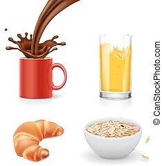 croissant, caffè, isolato, icons., realistico, vettore, succo, arancia, colazione, farina avena