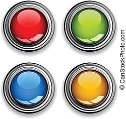 cromo, bottoni, vettore, lucido, vuoto