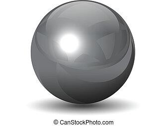 cromo, sfera, vettore, metallico