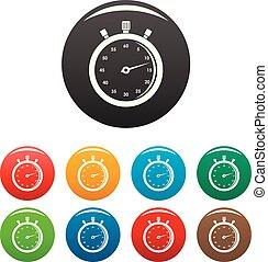 cronometro, colorare, set, icone