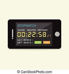 cronometro, mobile, application.