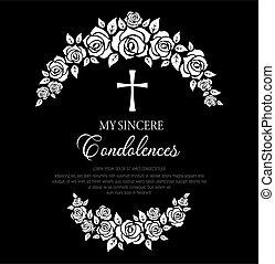 cross., fiori, ghirlanda, rosa, funerale, scheda
