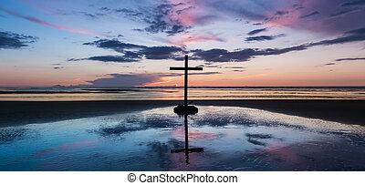 cross., spiaggia tramonto, centro