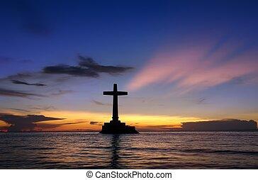 cross., tramonto