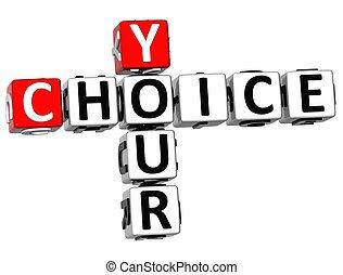 cruciverba, 3d, tuo, scelta
