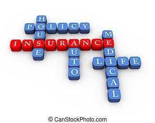 cruciverba, concetto, polizza assicurazione