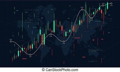 cruscotto, analytics, illustrazione, grafico, fondo, commercianti, vettore, mercato, pezzi, casato, mondo finanziario, mercati, scala, mappa