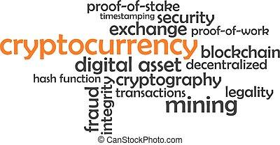 cryptocurrency, parola, -, nuvola