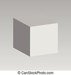 cube., vettore, bianco, 3d