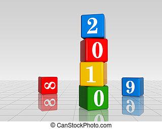 cubi, 9, colore, 8, 2010, riflessione