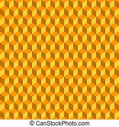 cubi, astratto, seamless, fondo., vettore, arancia, 3d