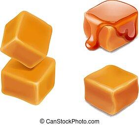 cubi, caramelle, isolato, illustrazione, vettore, caramello, 3d