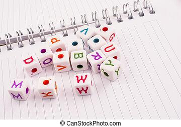 cubi, colorare, alfabeto, quaderno spirale, vario, lettera