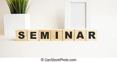 cubi, lettere, parola, tavola., fondo., legno, seminar., bianco