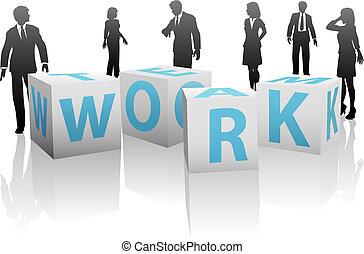 cubi, silhouette, persone, pianura, squadra lavoro, bianco