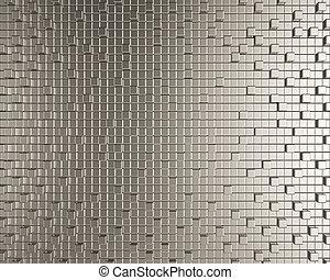 cubico, creativo, fondo, metallico