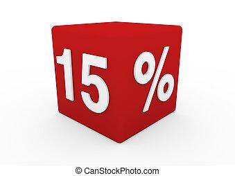 cubo, 15, vendita, rosso, 3d