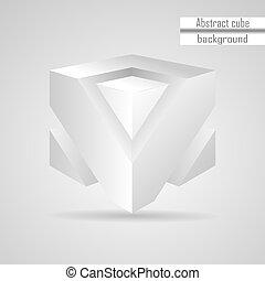 cubo, astratto, vettore, bianco, 3d