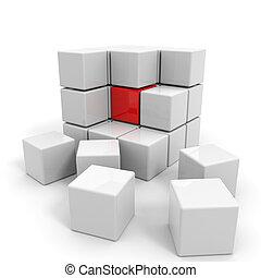 cubo bianco, core., montato, rosso