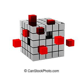 cubo, cubi, 3d, rosso, metallico