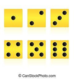cubo, giallo, gioco, vettore, illustrazione, gioco