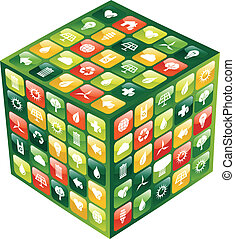 cubo, icone, mobile, globale, apps, telefono, verde