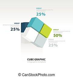 cubo, infographic, ruotare, sagoma