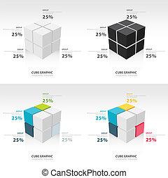 cubo, infographic, set, sagoma