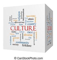 cubo, parola, cultura, concetto, nuvola, 3d