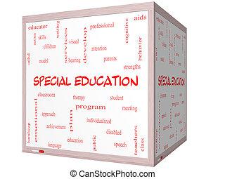 cubo, parola, whiteboard, concetto, nuvola, educazione, speciale, 3d