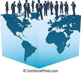 cubo, persone affari, globale, mondo, risorse