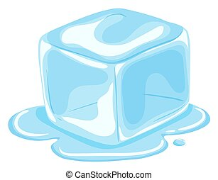cubo, pezzo, fusione, ghiaccio
